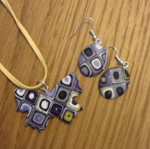 Lilac, purple and lime butterfly pendant with matchng earrings